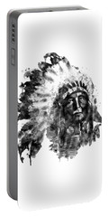 Portable Battery Charger featuring the mixed media Native American Chief Black And White by Marian Voicu