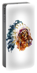 Native American Chief Portable Battery Charger by Marian Voicu