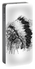 Portable Battery Charger featuring the mixed media Native American Chief Side Face Black And White by Marian Voicu