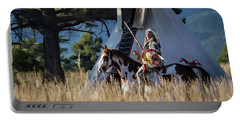 Native American In Full Headdress In Front Of Teepee Portable Battery Charger