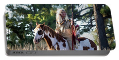 Native American In Full Headdress On A Paint Horse Portable Battery Charger