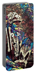 Plains Indian Warrior With Buffalo Headdress In The Trees Portable Battery Charger