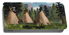 Native American Mountain Tepees Portable Battery Charger by Walter Colvin
