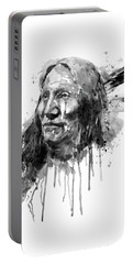 Portable Battery Charger featuring the mixed media Native American Portrait Black And White by Marian Voicu