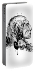 Native American Side Face Black And White Portable Battery Charger