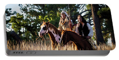 Native Americans On Horses In The Morning Light Portable Battery Charger