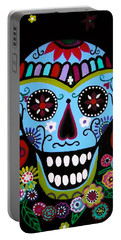 Portable Battery Charger featuring the painting Native Dia De Los Muertos Skull by Pristine Cartera Turkus