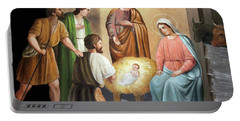 Nativity Scene Painting At Nativity Church Portable Battery Charger by Munir Alawi