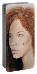 Natural Beauty With Red Hair  Portable Battery Charger by Jim Fitzpatrick