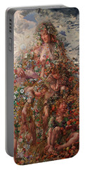 Portable Battery Charger featuring the painting Nature Or Abundance by Leon Frederic