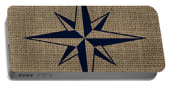 Nautical Star Burlap Portable Battery Charger