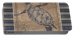 Nautical Stripes Sea Turtle Portable Battery Charger
