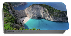 Navagio Beach Portable Battery Charger by Anastasy Yarmolovich
