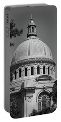 Naval Academy Chapel - Black And White Portable Battery Charger
