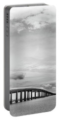 Portable Battery Charger featuring the photograph Navarre Bridge Monochrome by Shelby Young