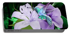 Portable Battery Charger featuring the mixed media Navigation Humming Bird by Marvin Blaine