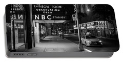 Nbc Studios Rockefeller Center Black And White  Portable Battery Charger