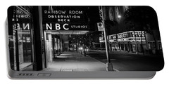 Nbc Studios Rockefeller Center Nyc Black And White  Portable Battery Charger