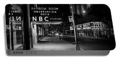 Nbc Studios Rockefeller Center Nyc Black And White  Portable Battery Charger by John McGraw