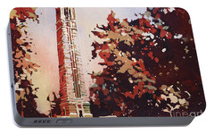 Portable Battery Charger featuring the painting Ncsu Bell-tower II by Ryan Fox