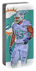 Ndamukong Suh Miami Dolphins Oil Art 2 Portable Battery Charger