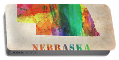 Nebraska Colorful Watercolor Map Portable Battery Charger