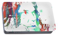 Neil Young Paint Splatter Portable Battery Charger by Dan Sproul
