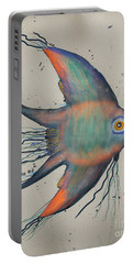 Portable Battery Charger featuring the mixed media Neon Blue Fish by Walt Foegelle