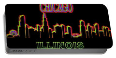 Neon Chicago Skyline Sign Portable Battery Charger