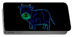 Portable Battery Charger featuring the digital art Neon Cow by Maciek Froncisz