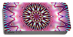 Portable Battery Charger featuring the digital art Neon Explosion by Shawna Rowe