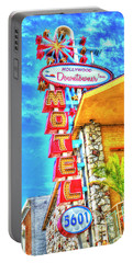 Neon Motel Sign Portable Battery Charger by Jim And Emily Bush