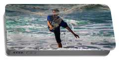 Portable Battery Charger featuring the photograph Net Fishing by Roger Mullenhour