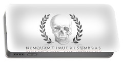 Never Fear The Shadows Stoic Skull With Laurels Portable Battery Charger