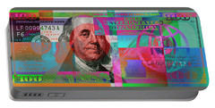 New 2009 Series Pop Art Colorized Us One Hundred Dollar Bill  No. 3 Portable Battery Charger by Serge Averbukh