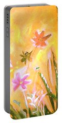 Portable Battery Charger featuring the painting New Daisies by Winsome Gunning