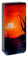 Portable Battery Charger featuring the painting New Day by Sher Nasser
