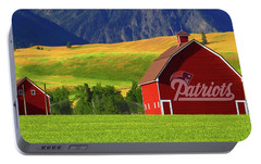 Portable Battery Charger featuring the photograph New England Patriots Barn by Movie Poster Prints