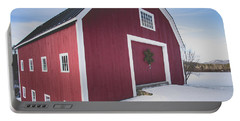 Portable Battery Charger featuring the photograph New England Red Barn Winter Orford by Edward Fielding