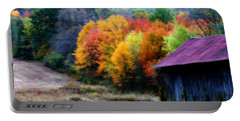 Portable Battery Charger featuring the photograph New England Tobacco Barn In Autumn by Smilin Eyes  Treasures