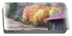 New England Tobacco Barn In Watercolor Portable Battery Charger