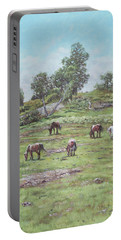 Portable Battery Charger featuring the painting New Forest Lyndhurst Hampshire by Martin Davey
