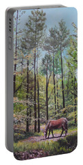 Portable Battery Charger featuring the painting New Forest With Horse In Light  by Martin Davey