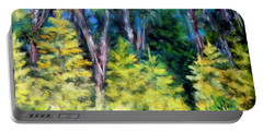 Portable Battery Charger featuring the photograph New Growth Tree Line by Shirley Moravec