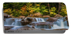 New Hampshire White Mountains Swift River Waterfall In Autumn With Fall Foliage Portable Battery Charger by Ranjay Mitra