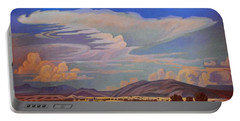 Portable Battery Charger featuring the painting New Mexico Cloud Patterns by Art James West
