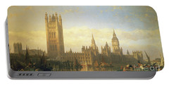 New Palace Of Westminster From The River Thames Portable Battery Charger