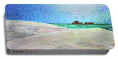 Portable Battery Charger featuring the painting New Smyrna Beach As Seen From A Dune On Ponce Inlet by Deborah Boyd