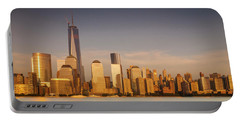 New World Trade Memorial Center And New York City Skyline Panorama Portable Battery Charger by Ranjay Mitra
