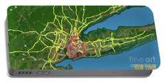 New York Abstract Green And Yellow Map Portable Battery Charger
